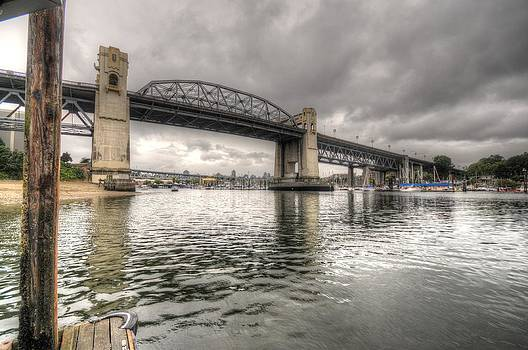 Burrard Street Bridge Stormy by Doug Farmer