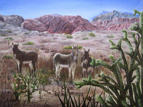 Burros at Red Rock by Roseann Gilmore