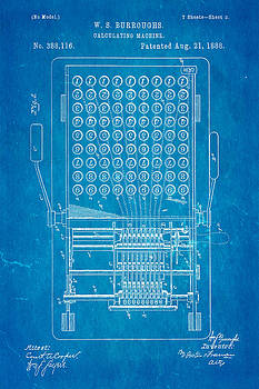 Ian Monk - Burroughs Calculating Machine Patent Art 1888 Blueprint