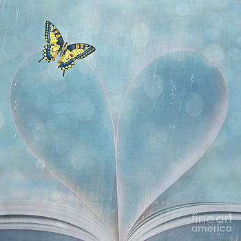 Butterfly and Heart-Shaped Book Pages by Susan Gary