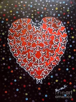 Butterfly Heart - Acrylic Painting by Priyanka Rastogi