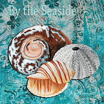 By the Seaside Original Coastal Painting Colorful Urchin and Seashell Art by Megan Duncanson by Megan Duncanson