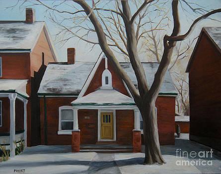 Cabbagetown Cottage in Winter by Rita-Anne Piquet