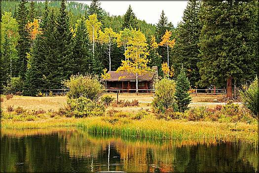 Cabin on the Pond by Big Horn  Photography