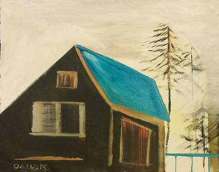 Cabin With Blue Roof by Gregory Dallum