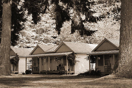 Connie Fox - Cabins at Lake Crescent Lodge in BW Sepia