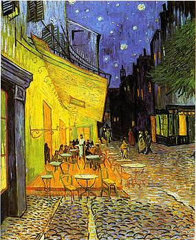 Cafe Terrace At Night by Masterpieces Of Art Gallery