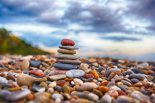 Cairn on Lake Michigan  by Michael  Bennett