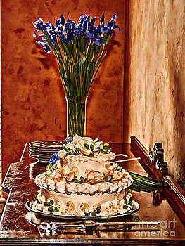 Cake and Purple Irises by Amanda Collins