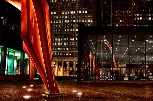 Calder Flamingo Downtown Chicago 3 by Michael  Bennett
