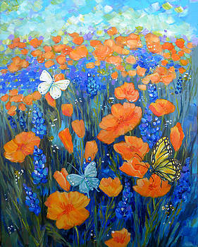 Peggy Wilson - California Poppies wiith Butterlfies
