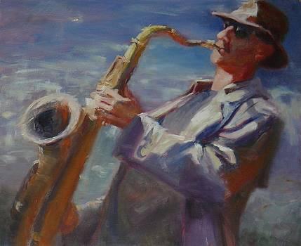 California Saxophone Player by Irena  Jablonski