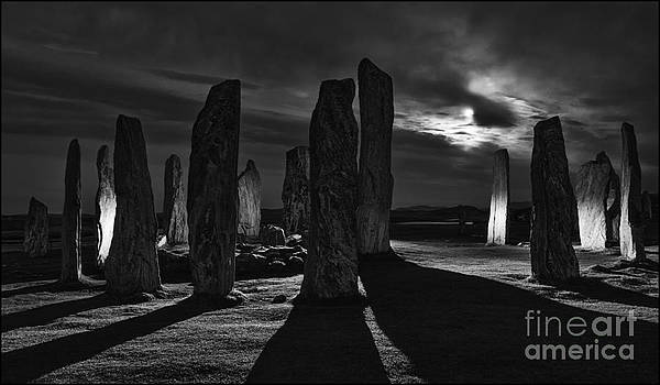 Callanish Stones Light Painting No2 Mono by George Hodlin