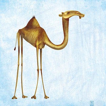 Camel on blue background by Gorka Aranburu