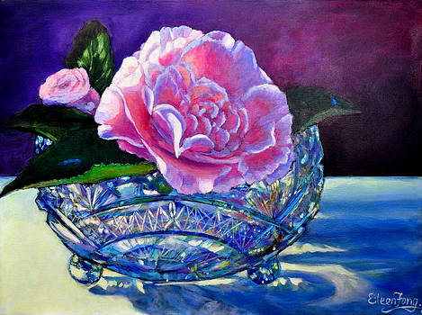 Camellia in Crystal Bowl by Eileen  Fong