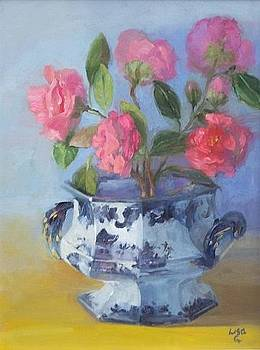 Camellia's in Flow Blue by Lisa Godfrey