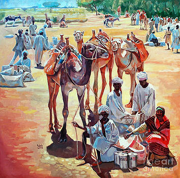 Camels people and market by Mohamed Fadul