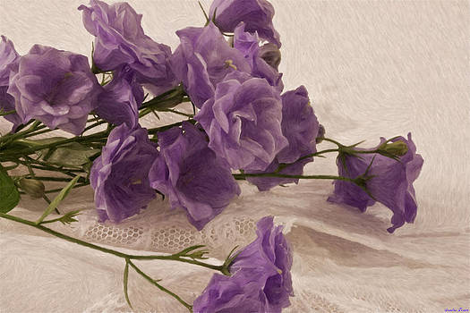 Sandra Foster - Campanulas And Lace Digital Pastel Art Work