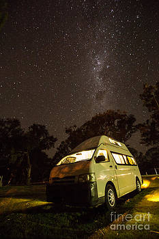 Campervan in the night by Gabor Pozsgai