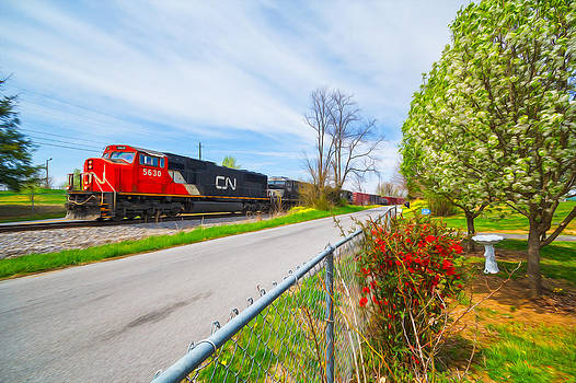 Canadian National in the Spring Oil Painting Style by Greg  Booher