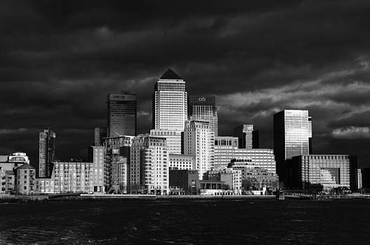 Gary Eason - Canary Wharf sunlit from the Thames black and white version
