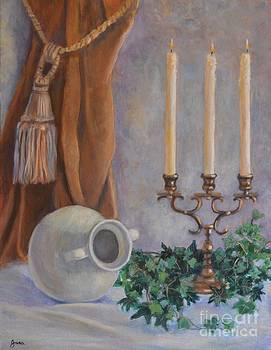Candelabra with White Vase by Jana Baker