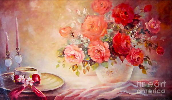 Candlelight Roses and Hat by Patricia Schneider Mitchell