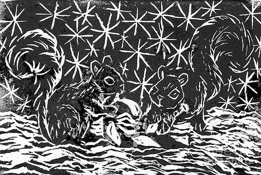 Ellen Miffitt - Candy Cane and Two Squirrels  a  block print