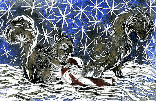 Ellen Miffitt - Candy Cane and Two Squirrels a block print in color