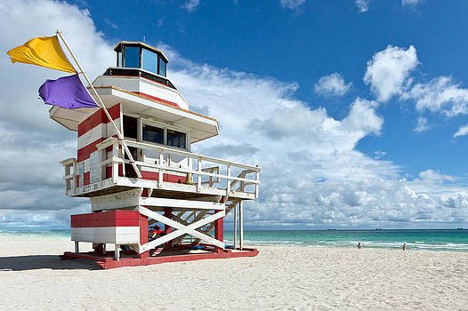 Candy Stripe Lifeguard House  by Derek Latta