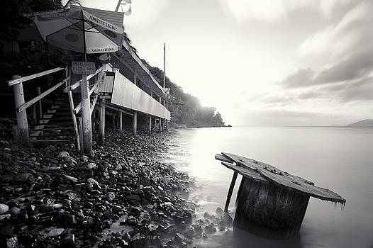 Cane Garden Bay Beach in black and white by Anya Brewley Schultheiss