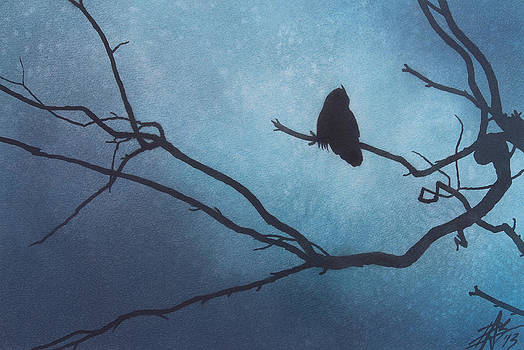 Robin Street-Morris - Canyon Denizen II or Great Horned Owl with Eucalyptus Branch