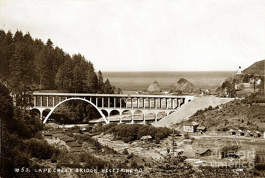 California Views Mr Pat Hathaway Archives - Cape Creek Bridge and Heceta Oregon Head Lighthouse  circa1933