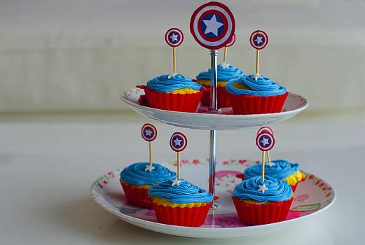 Captain America Cupcakes by Farah Faizal