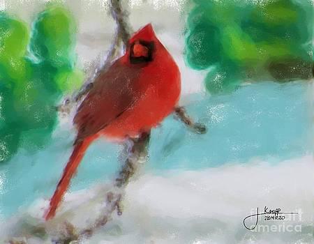 Cardinal In Winter by Julie Knapp