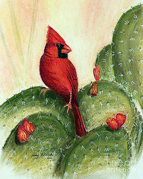 Cardinal on Prickly Pear Cactus by Judy Filarecki