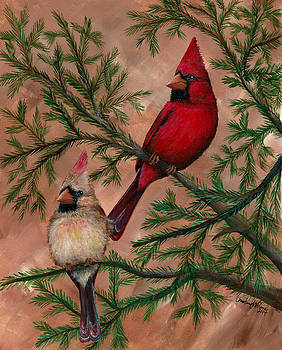 Cardinal Pair by Christine StPierre