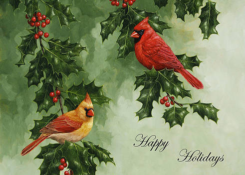 Crista Forest - Cardinals Holiday Card - Version without snow