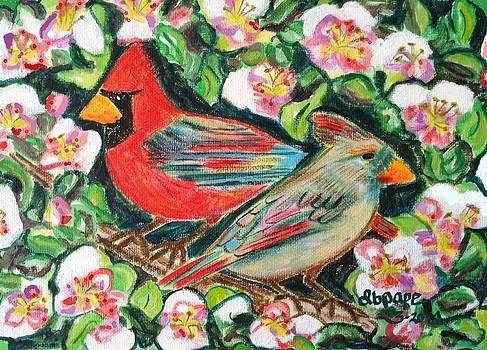 Cardinals in an Apple Tree by Diane Pape