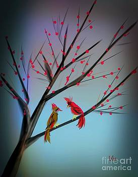 Cardinals in the Flowering Crab by Judy Via-Wolff