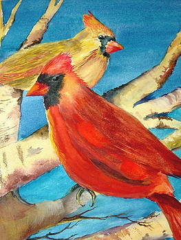 Cardinals in the Old Apple Tree by Marsha Woods