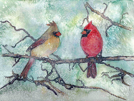 Cardinals in the Snow by Norma Boeckler