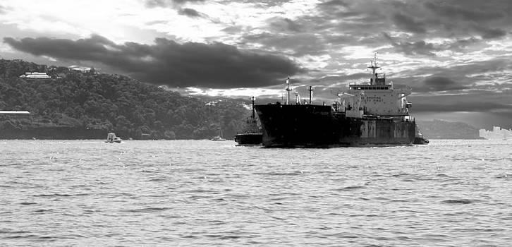 David Rich - Cargo Ship on Sydney Harbour black and white