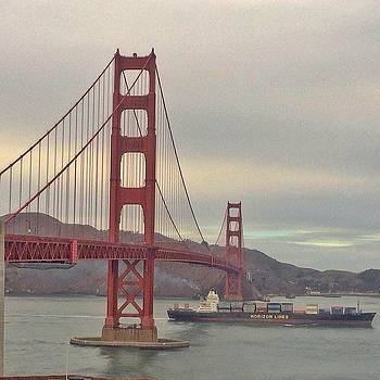 Cargo Ship Passing Through Golden Gate by Karen Winokan