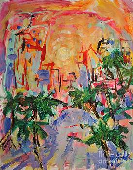 Tropical city painting with palm trees and sun by Russ Potak