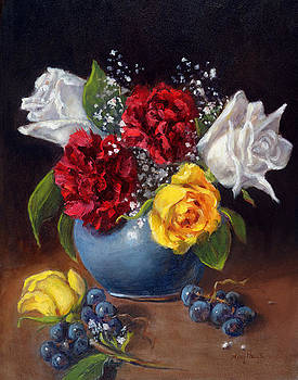 Carnations And Roses by Mary Phelps