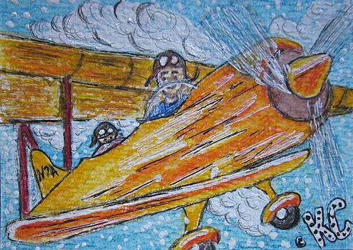Cartoon Airplane by Kathy Marrs Chandler