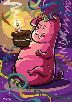 Martin Davey - Cartoon Fat Little Birthday Pig vector illustration