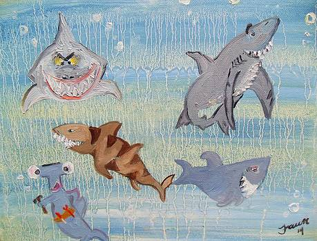 Cartoon Sharks  by Fawn Whelahan