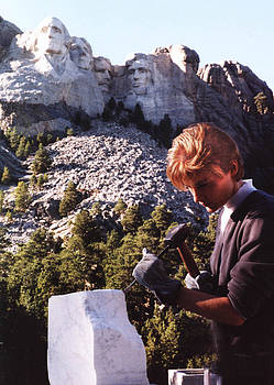 Carving at Mt Rushmore  by Lisbeth Sabol